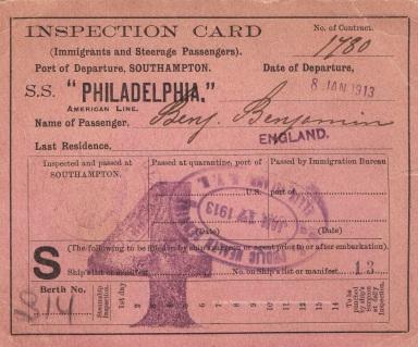 Ellis Island Ticket