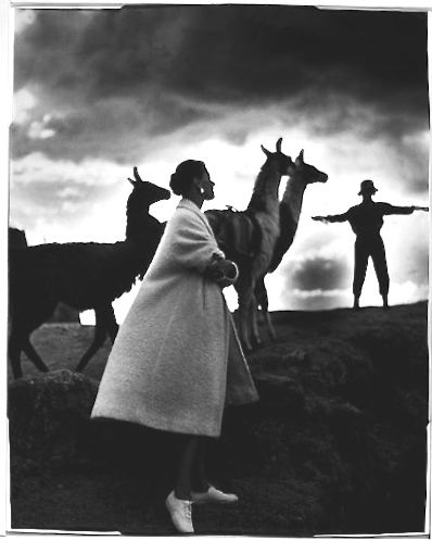 Title: [Fashion model with llamas, Cusco, Peru] Creator(s): Frissell, Toni, 1907-1988, photographer Date Created/Published: [1952]