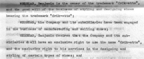 Crik-etts Licensing Agreement 1958 1st page