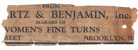 torn label -Schwartz & Benjamin
