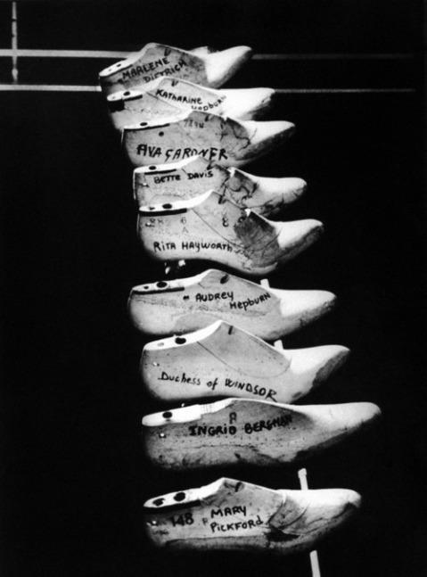 Shoe forms belonging to various actresses at Ferragamo