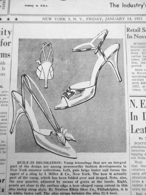 I. Miller Shoe, Footwear News, January 14, 1955.