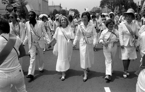 Leading supporters of the Equal Rights Amendment march in Washington on Sunday, July 9, 1978, urging Congress to extend the time for ratification of the ERA. From left: Gloria Steinem, Dick Gregory, Betty Friedan, Rep. Elizabeth Holtzman, D-N.Y., Rep. Barbara Mikulski, D-Md., Rep. Margaret Heckler, R-Mass. (AP Photo/Dennis Cook)