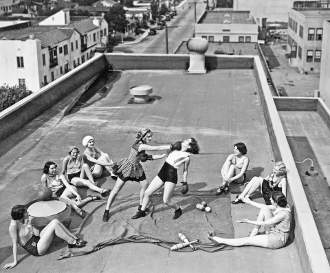 Women Boxing On A Roof 1938.